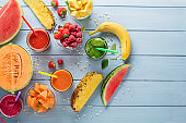 Healthy smoothies with fresh fruit and vegetable ingredients