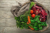 Fresh mixed vegetables in a basket