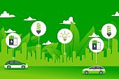 Green power environment city electric car concept vector illustration