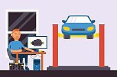 Computer parts auto diagnostics vector illustration. Man character use computer to repair car. Worker sit at table, machine raised