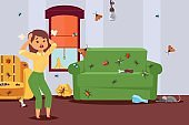 Insect in apartment, pest control, character of woman in panic, bug attack flat vector illustration. Infected room. Design pests control.