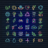 Neon icons set Ecology concept. Ecology Vector trendy colored symbols. Glowing illustration sign for design.