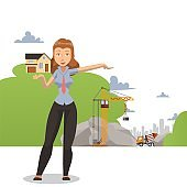 Woman presenting building project, female realtor agent at construction site, vector illustration