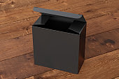 Blank wide square box with hinged flap lid