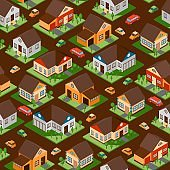 Isometric houses in seamless pattern, vector illustration. Wrapping paper with town streets of residential district. Isolated isometric buildings for game design, suburb houses