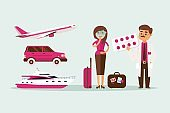 People motion sickness while traveling in transport vector illustration. Pale girl with luggage near car, plane and yacht, nausea.