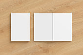 Blank white vertical closed and open and upside down book cover