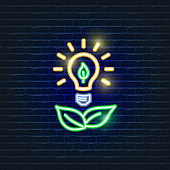 Light bulb neon icon. Ecology Vector trendy colored symbols. Eco friendly concept. Glowing illustration for design.