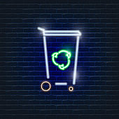 Trash can sorting neon icon. Ecology Vector trendy colored symbols. Eco friendly concept. Glowing illustration sign for design.