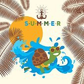 Summer banner with turtle cartoon character, vector illustration. Store advertisement poster, shop catalog cover. Travel agency flyer template, decorated with palm leaves