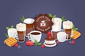 Coffe shop large assortment different drinks, vector illustration. Cafe logo, cups and glasses with coffee espresso, mug