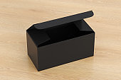 Blank wide flat box with hinged flap lid