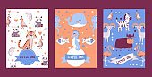 Banners with cute animals in cartoon style, vector illustration. Children zoo invitation, zoology book cover, greeting card template. Happy exotic animals cartoon characters