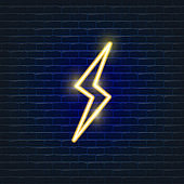 Power neon icon. Ecology Vector trendy colored symbols. Eco friendly concept. Glowing illustration sign for design.