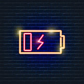 Ecology battery neon icon. Vector trendy colored sign. Eco friendly flat symbol. Glowing illustration sign for design.