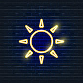Sun neon Icon. Ecology Vector trendy colored symbols. Weather forecast concept. Glowing illustration sign for design.