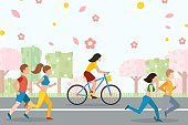 People running and cycling, active healthy lifestyle, vector illustration