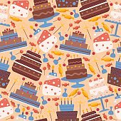 Cakes seamless pattern, vector illustration. Icons of birthday and wedding cake in flat style, sweet chocolate dessert. Wrapping paper design for festive pastry packaging