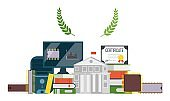Microchip creation training, university certificate vector illustration. Obtaining multifaceted information about computer