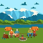 Camping tent banner with flat tourist, outdoor party vector illustration. Campfire on shore, mountain, river. Design people character.