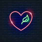 Heart with Leaf Neon Icon. Ecology Vector trendy colored symbols. Eco concept. Glowing illustration sign for design.