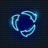 Recycling Neon Icon. Ecology Vector trendy colored symbols. Eco concept. Glowing illustration for design.