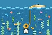 Penguin explores underwater world with three-cap, vector illustration. Fish swim around flightless bird, device tube held to yacht