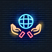 Earth in the hands neon icon. Ecology Vector trendy colored symbols. Eco friendly concept. Glowing illustration sign for design.
