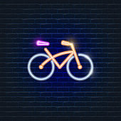 Bike neon icon. Ecology Vector trendy colored symbols. Eco friendly concept. Glowing illustration sign for design.