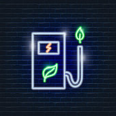 Environmental refueling neon icon. Ecology Vector trendy colored symbols. Eco friendly concept. Glowing illustration sign for design.
