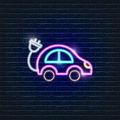 Eco car neon icon. Ecology Vector trendy colored symbols. Eco friendly concept. Glowing illustration sign for design.