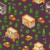 Isometric seamless pattern, vector illustration. Set of buildings and cars in geometric perspective. Isometric background for game or map. Town street with houses