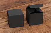 Blank cube gift box with hinged flap lid