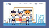 Science for children, vector illustration. Landing page template for school website. Happy smiling kids in cartoon style, enjoying studying. Chemistry class, education course