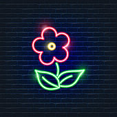 Ecology neon icons flower. Vector trendy color symbols. Eco friendly flat sign. Glowing illustration sign for design.
