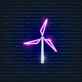 Windmill neon Icons. Ecology Vector trendy colored symbols. Eco concept. Glowing illustration sign for design.