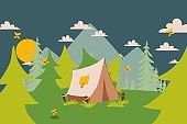 Camping tent in nature, vector illustration. Simple landscape with trees and mountains, summer campsite on forest clearing. Outdoor camping scene, active tourism tent