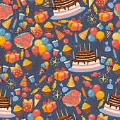 Birthday icons in seamless pattern, vector illustration. Wrapping paper design for gifts and presents. Symbols of birthday party, cake, balloons, sweets and flowers