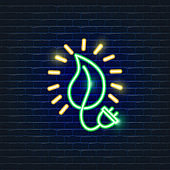 Eco light bulb neon icon. Ecology Vector trendy colored symbols. Eco friendly concept. Glowing illustration sign for design.