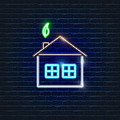 Smart home neon icon. Ecology Vector trendy colored symbols. Eco friendly concept. Glowing illustration sign for design.