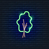 Green Tree neon icon. Ecology Vector trendy colored symbols. Eco friendly concept. Glowing illustration sign for design.