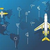World weather, meteorological forecast for aviation, passenger liner, world atmospheric prediction, flat vector illustration.