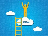 Success and achieving aims. Person standing on cloud with word GOAL, blue background. Creative illustration