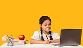 Japanese Elementary Student Girl Doing Homework At Laptop, Studio Shot