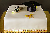 Graduation cake with hat and diploma decoration.