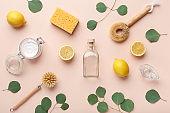 Ingredients - essential oil, lemon and washing soda, vinegar