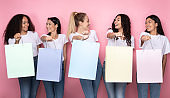 Happy Multiethnic Women Holding Colorful Shopper Bags, Studio Shot