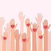 Volunteering. People with hearts on palms raising their hands up on pink background, vector illustration in flat style