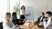 Businesswoman Giving Speech Pointing At Blackboard During Meeting In Office
