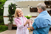 Senior man giving bouquet of flowers to his wife near camper van outdoors